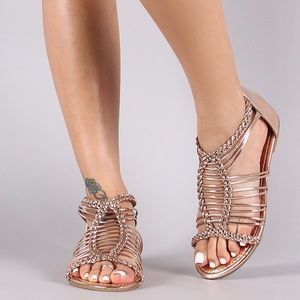 Rose Gold Patent Braided Woven Gladiator Sandal